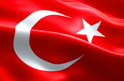 Drapeau de fond de ondulation de tissu de texture de bande de dinde, culture arabe de l'Islam de symbole national, crise de réfug Images libres de droits