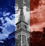 Drapeau de Français de Tour Eiffel de Paris Image stock