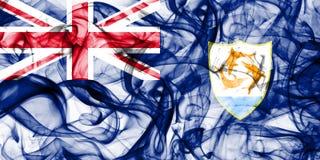 Drapeau de fumée d'Anguilla, territoires d'outre-mer britanniques, drapeau de territoire non autonome de la Grande-Bretagne photo stock