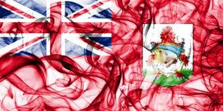 Drapeau de fumée des Bermudes, territoires d'outre-mer britanniques, drapeau de territoire non autonome de la Grande-Bretagne photographie stock
