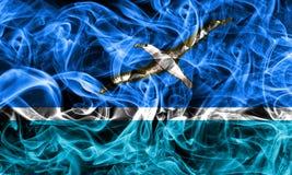 Drapeau de fumée de Midway Islands, fla de territoire non autonome des Etats-Unis Images stock