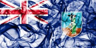 Drapeau de fumée de Montserrat, territoires d'outre-mer britanniques, drapeau de territoire non autonome de la Grande-Bretagne photos stock