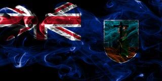 Drapeau de fumée de Montserrat, territoires d'outre-mer britanniques, drapeau de territoire non autonome de la Grande-Bretagne illustration stock