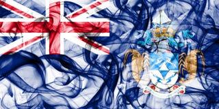 Drapeau de fumée de Tristan da Cunha, territoires d'outre-mer britanniques, drapeau de territoire non autonome de la Grande-Breta photos stock