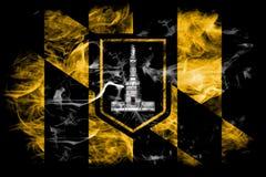 Drapeau de fumée de ville de Baltimore, état du Maryland, Etats-Unis d'Amer images libres de droits