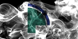 Drapeau de fumée de ville de Brooklyn Park, état du Minnesota, Etats-Unis de Image stock