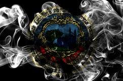 Drapeau de fumée de ville de Cambridge, état du Massachusetts, Etats-Unis de Photos stock