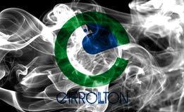 Drapeau de fumée de ville de Carrollton, Texas State, Etats-Unis d'Ameri Images stock