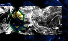 Drapeau de fumée de ville de Colorado Springs, état du Colorado, Etats-Unis images libres de droits