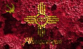 Drapeau de fumée de ville d'Albuquerque, état du Nouveau Mexique, Etats-Unis de illustration libre de droits