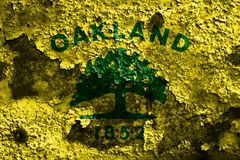 Drapeau de fumée de ville d'Oakland, état de la Californie, Etats-Unis d'Amer Image libre de droits