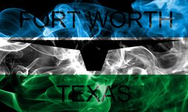 Drapeau de fumée de ville de Fort Worth, Texas State, Etats-Unis d'Americ Photographie stock