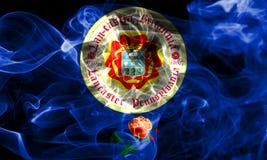 Drapeau de fumée de ville de Lancaster, état de la Pennsylvanie, Etats-Unis de Photographie stock libre de droits
