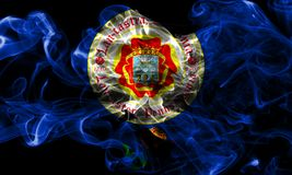 Drapeau de fumée de ville de Lancaster, état de la Pennsylvanie, Etats-Unis de Photo stock