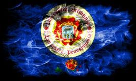 Drapeau de fumée de ville de Lancaster, état de la Pennsylvanie, Etats-Unis d'Amérique Image stock