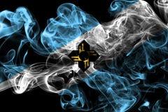 Drapeau de fumée de ville de Madison, état du Wisconsin, Etats-Unis d'Ameri Photographie stock libre de droits