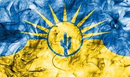 Drapeau de fumée de ville de MESA, état de l'Arizona, Etats-Unis d'Amérique Images libres de droits