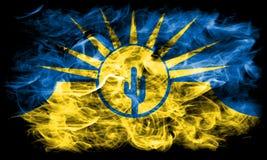Drapeau de fumée de ville de MESA, état de l'Arizona, Etats-Unis d'Amérique Photo stock