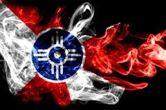 Drapeau de fumée de ville de Wichita, état du Kansas, Etats-Unis d'Amérique images libres de droits