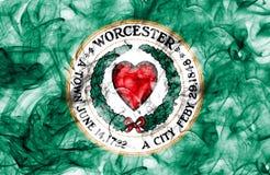 Drapeau de fumée de ville de Worcester, état du Massachusetts, Etats-Unis de Photographie stock
