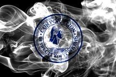 Drapeau de fumée de ville de Yonkers, l'état de New-York, Etats-Unis d'Americ Images stock