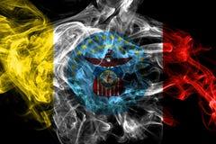 Drapeau de fum?e de ville de Columbus, ?tat de l'Ohio, Etats-Unis d'Am?rique illustration libre de droits