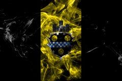 Drapeau de fum?e de ville de Pittsburgh, ?tat de la Pennsylvanie, Etats-Unis d'Am?rique illustration stock