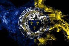 Drapeau de fum?e de ville de Trenton, ?tat de New Jersey, Etats-Unis d'Am?rique illustration libre de droits