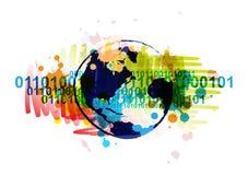Drapeau de globe de Digitals Photographie stock libre de droits