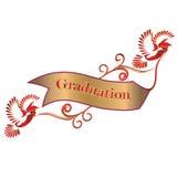 Drapeau de graduation avec des colombes et des mortiers Image stock