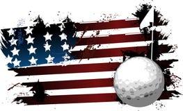 Drapeau de grunge de boule de golf Image stock