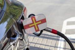 Drapeau de Guernesey sur l'aileron de remplisseur de carburant du ` s de voiture image libre de droits