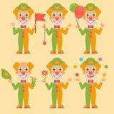Drapeau de Holding Balloons Flowers de clown Image stock