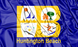 Drapeau de Huntington Beach la Californie, Etats-Unis illustration 3D illustration stock