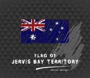 Drapeau de Jervis Bay Territory, illustration tirée par la main de croquis de vecteur sur le fond grunge foncé Photographie stock libre de droits