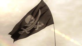 Drapeau de Jolly Roger de crâne de pirate banque de vidéos