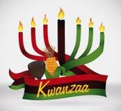 Drapeau de Kwanzaa avec les éléments traditionnels, illustration de vecteur Image stock
