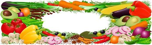 Drapeau de légumes, d'herbes et d'épices Photographie stock