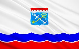 Drapeau de Léningrad Oblast, Fédération de Russie illustration de vecteur