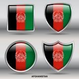 Drapeau de l'Afghanistan dans la collection de 4 formes avec le chemin de coupure Images stock