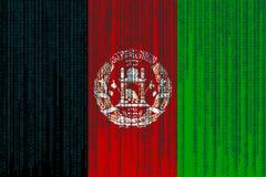Drapeau de l'Afghanistan de protection des données Drapeau de l'Afghanistan avec c binaire Photographie stock