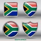 Drapeau de l'Afrique du Sud dans la collection de 4 formes avec le chemin de coupure Image libre de droits