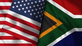 Drapeau de l'Afrique du Sud et des Etats-Unis - 3D drapeau de l'illustration deux illustration stock