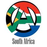 Drapeau de l'Afrique du Sud du monde sous forme de signe d'anarchie illustration de vecteur