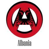 Drapeau de l'Albanie du monde sous forme de signe d'anarchie illustration stock