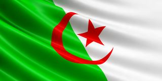 Drapeau de l'Algérie flottant en vent Image libre de droits