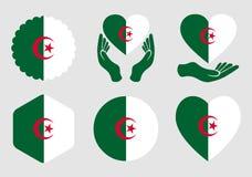 Drapeau de l'Algérie sur le fond d'isolement illustration stock