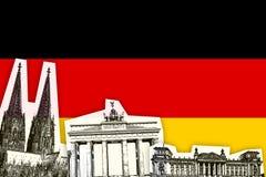 Drapeau de l'Allemagne avec le monument Image stock