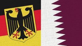 Drapeau de l'Allemagne et du Qatar - texture de tissu illustration stock