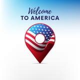 Drapeau de l'Amérique dans la forme de l'indicateur de carte Indicateur des Etats-Unis Bienvenue vers l'Amérique Illustration de  illustration stock
